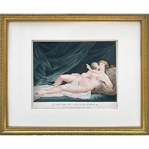 Antique Venus & Cupid Engraving