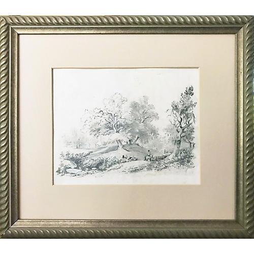 19th Century European Landscape Drawing