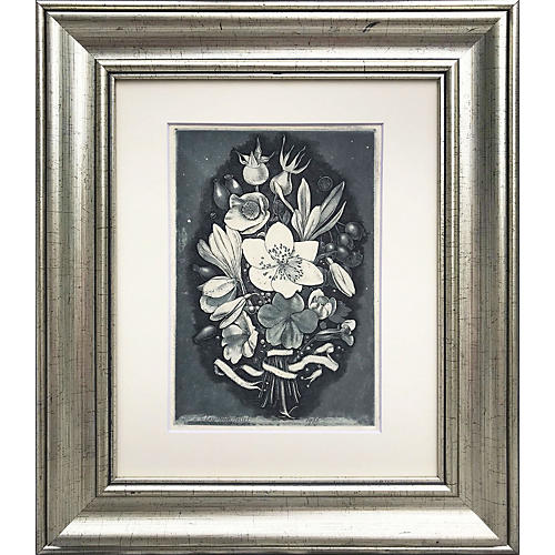 Bouquet Etching by Lawrence Josset