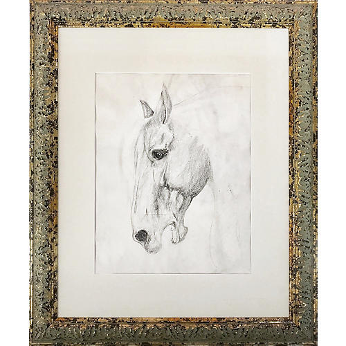 Vintage Drawing of a Horse, C. 1930