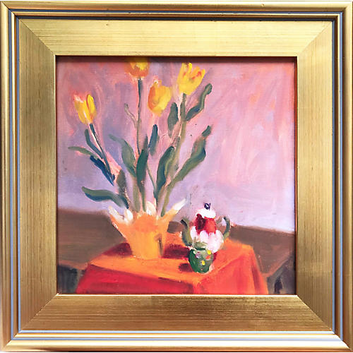 Still Life Tulips & Tea Pot