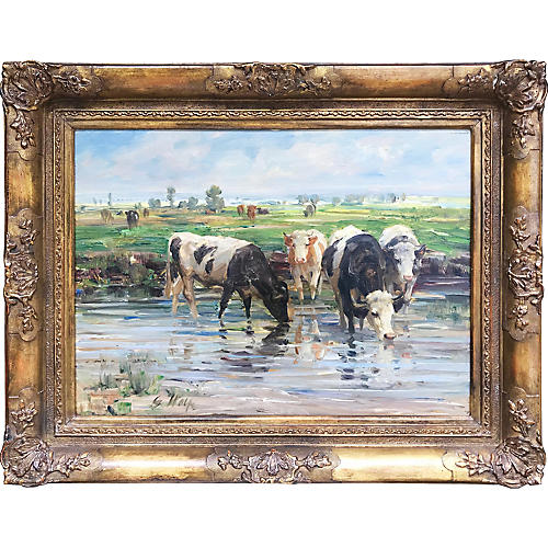 Impressionist Painting of Cattle by Wolf
