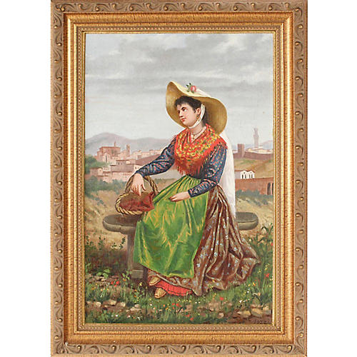 Antique Portrait of Italian Woman