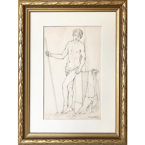 19th-C Neoclassical Male Nude Drawing