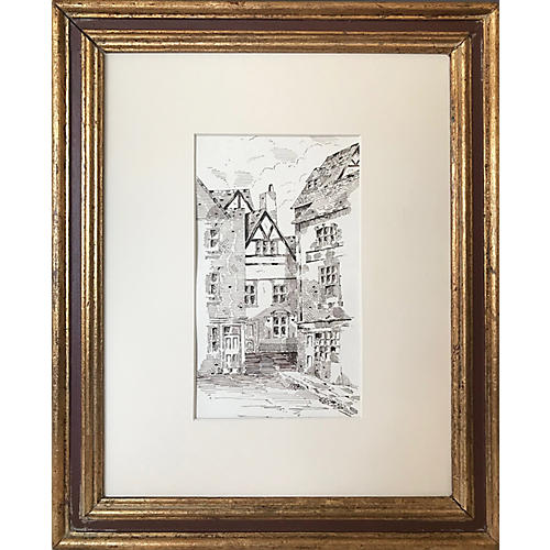 Antique English Pen & Ink Drawing