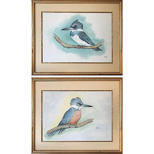 Kingfisher Watercolor Paintings, Pair