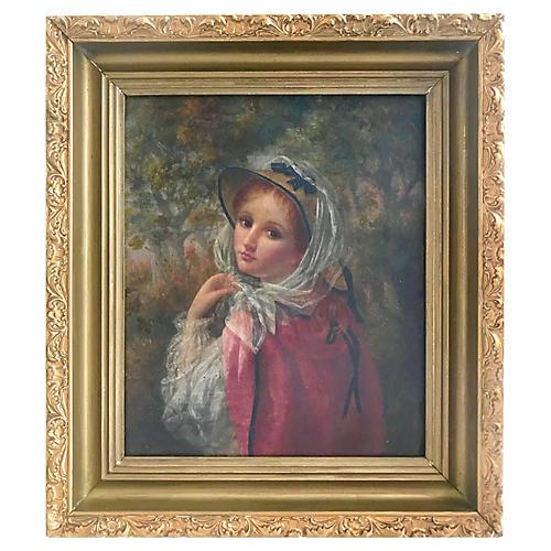Oil Portrait Young Woman W. Banta 1886