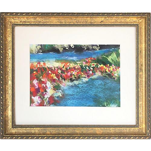 Vintage Impressionist Pastel Landscape