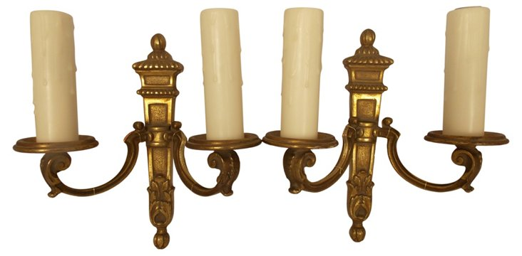 French 2-Arm Sconces, Pair