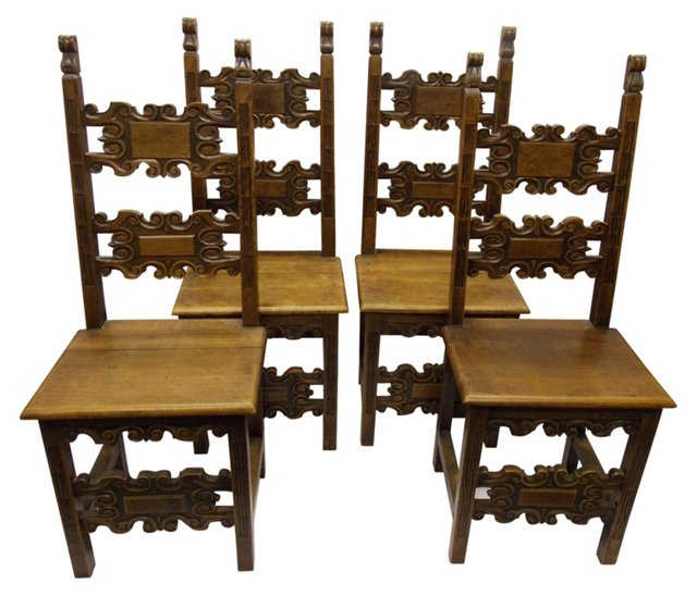 19th-C. Carved Spanish Chairs, S/4