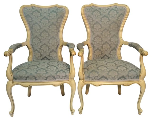 19th-C.  French Rococo Chairs, Pair