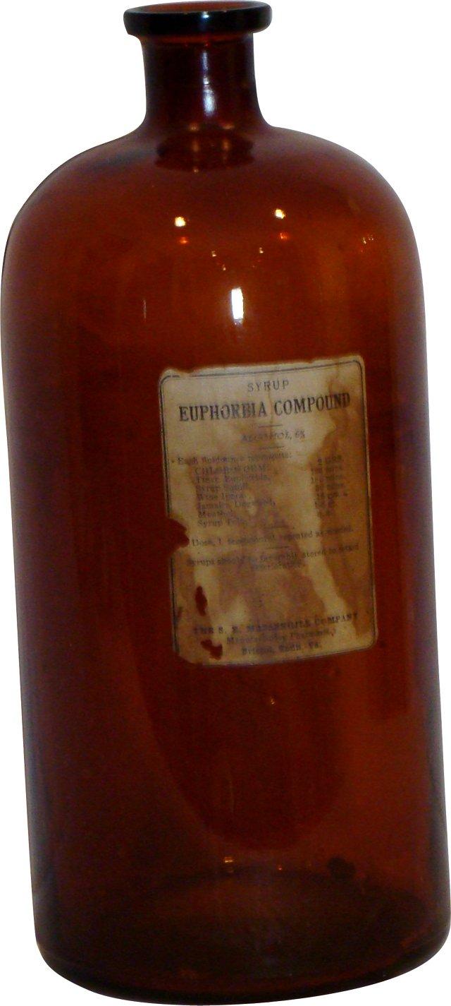 Large Glass Medicine Bottle, C.1900