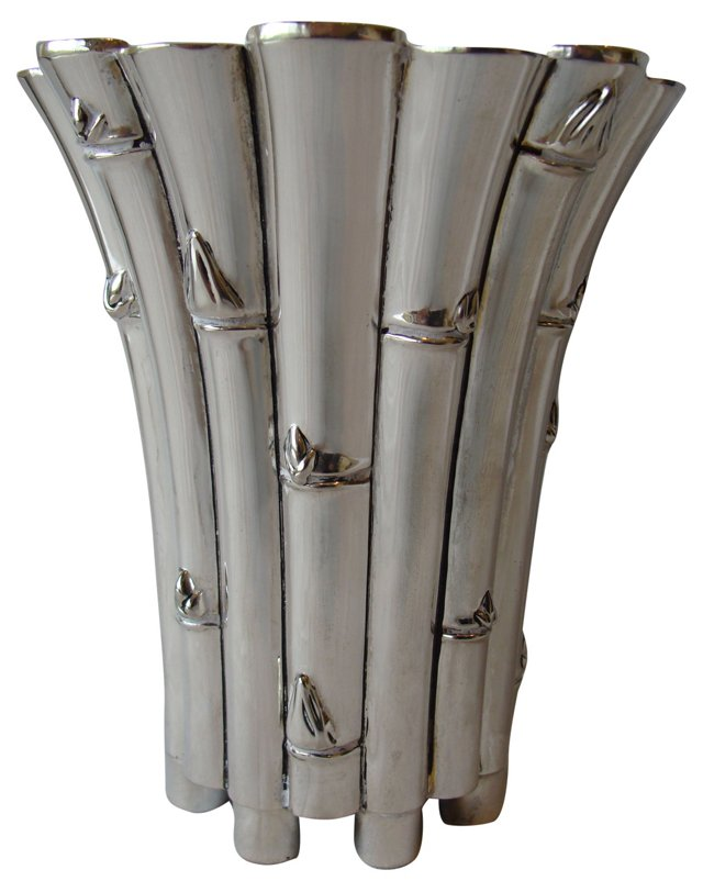 Polished Silver Bamboo Vase
