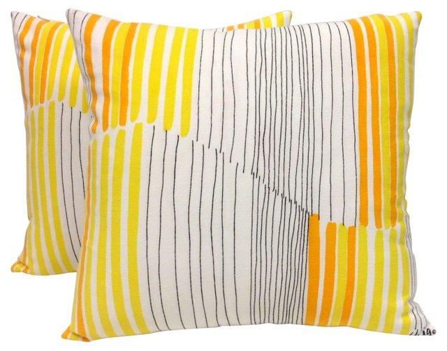 Vera Yellow Stripe Pillows, Pair