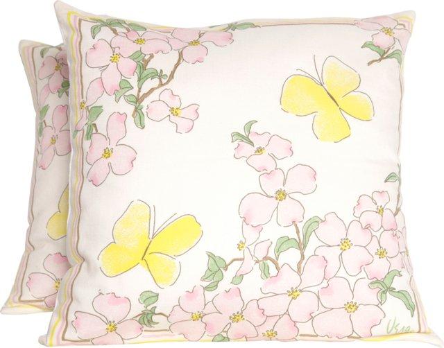 Vera Dogwood & Butterfly Pillows, Pair