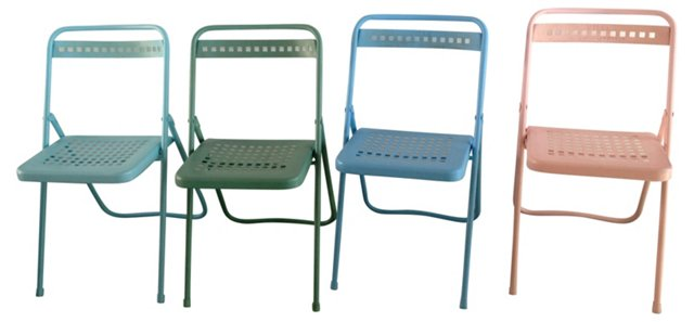 French Metal Folding Chairs, S/4