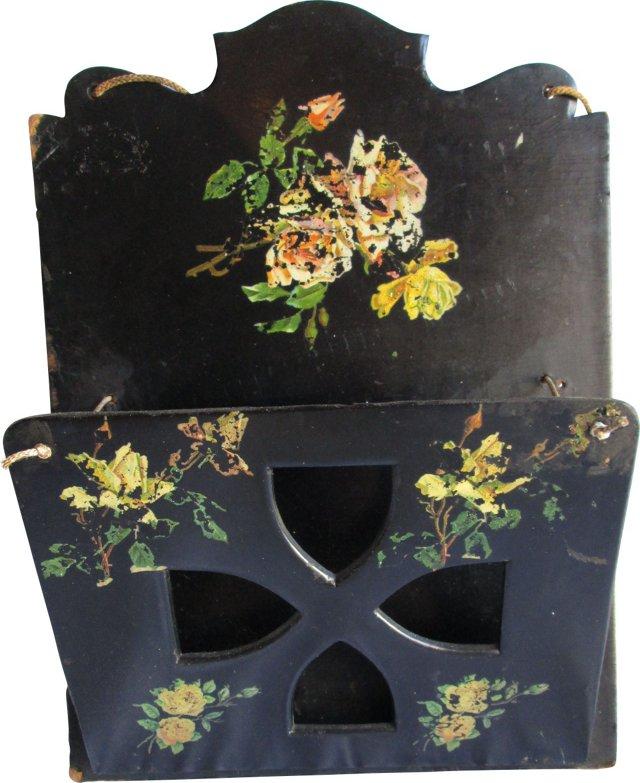 Antique Papier-Mâché Wall Rack
