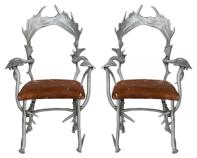 Arthur Court Antler-Style Chairs, Pair