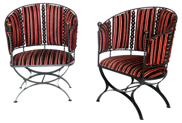 Iron Barrel-Back  Chairs, Pair