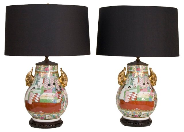 Hand-Painted Urn Lamp Bases, Pair