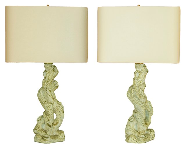Twisted Root Lamp Bases, Pair