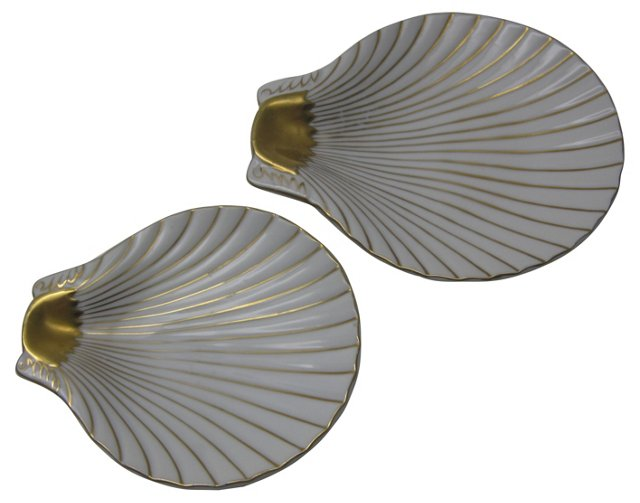 White & Gold Shell Dishes, Pair