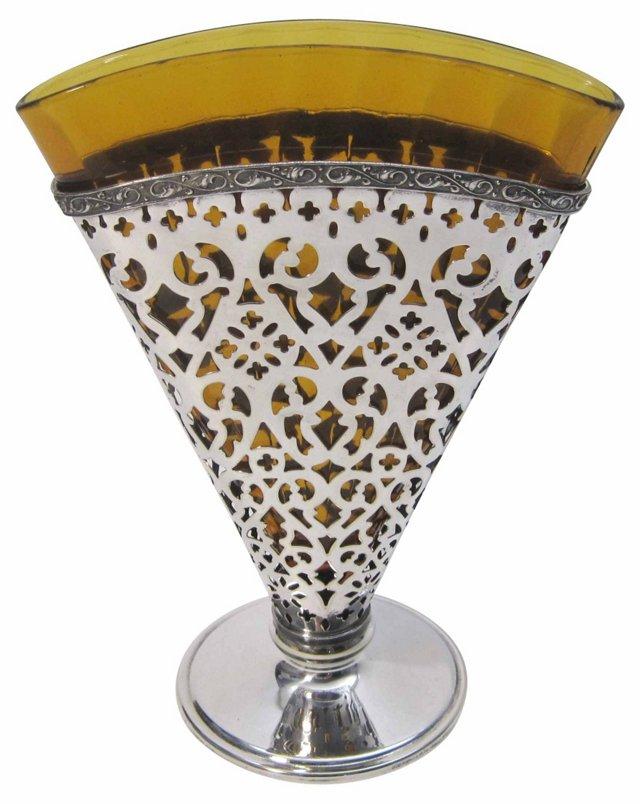 Silver & Amber Glass Fan Vase