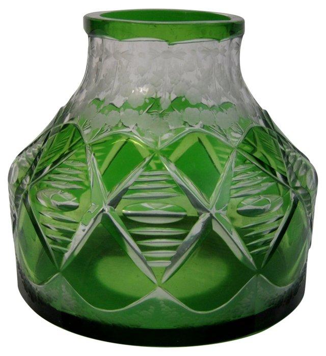 Bohemian Green Glass Vase