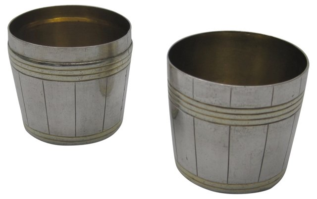 Traveling Silver & Gold Shot Cups, Pair