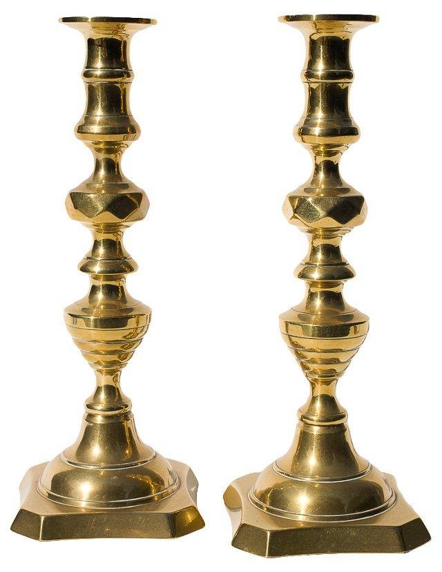 English Brass Candlesticks, Pair