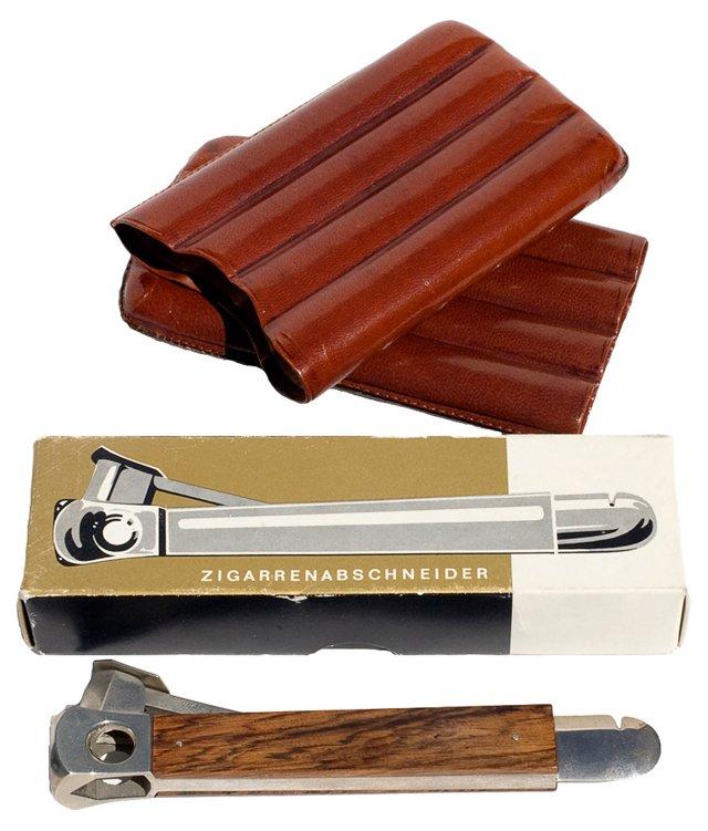 Cigar Cutter & Case, 2 Pcs