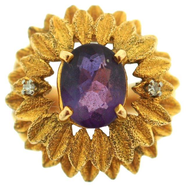 18K Gold Amethyst Ring, C. 1970