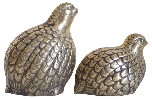 Brass   Quails,   Pair