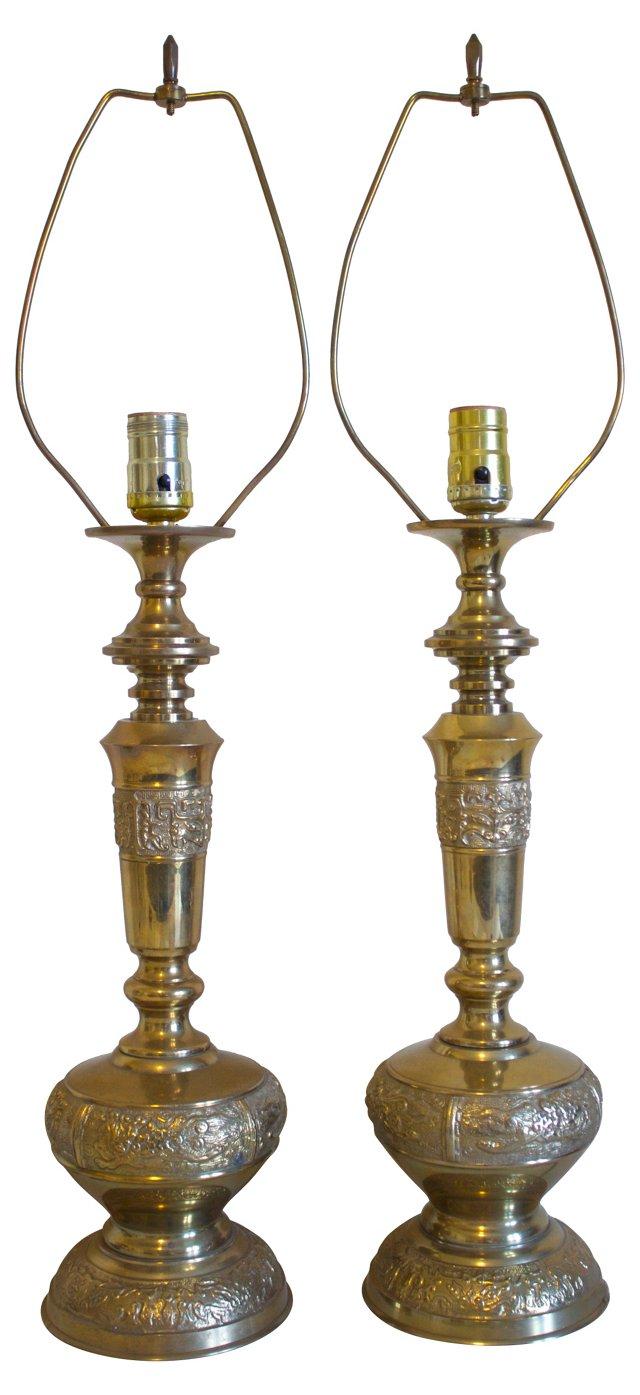 Brass Dragon Lamps, Pair