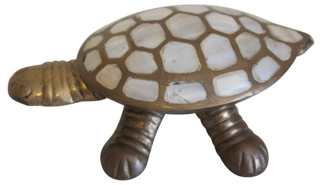 Brass & Shell Turtle Box