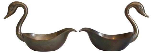 Brass Swan    Catchalls, Pair