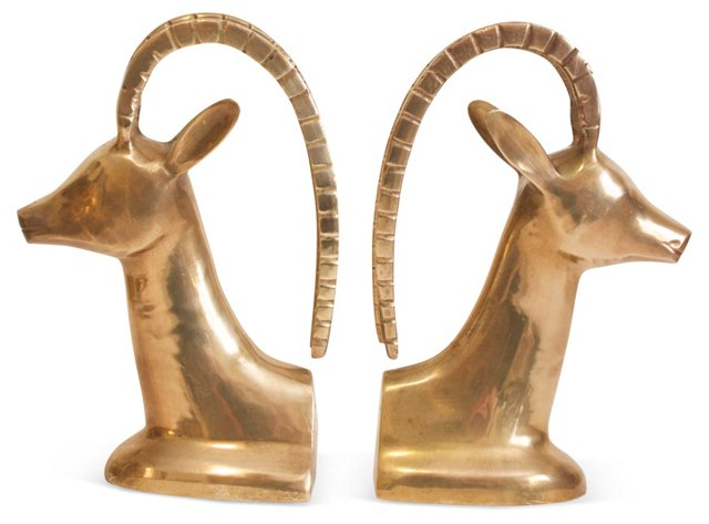 1960s Brass Ibex Bookends