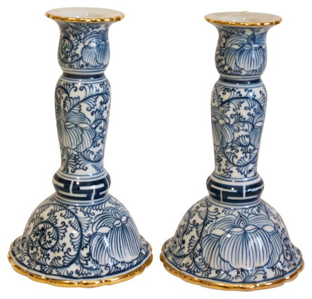 Blue & White Candleholders, Pair