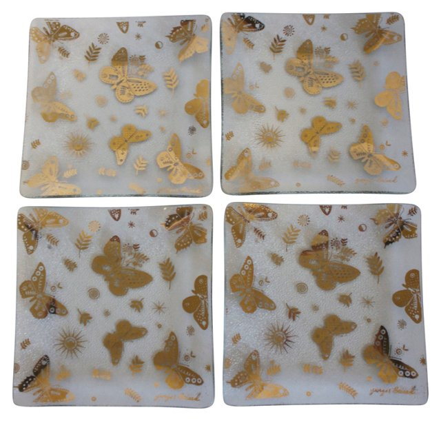 Gold Butterfly   Plates, S/4