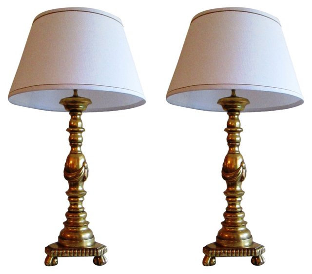 1950s Gilt Wood Lamps, Pair
