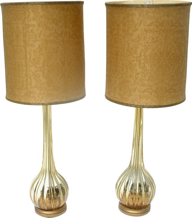 Murano Lamps w/ Fortuny Shades, Pair