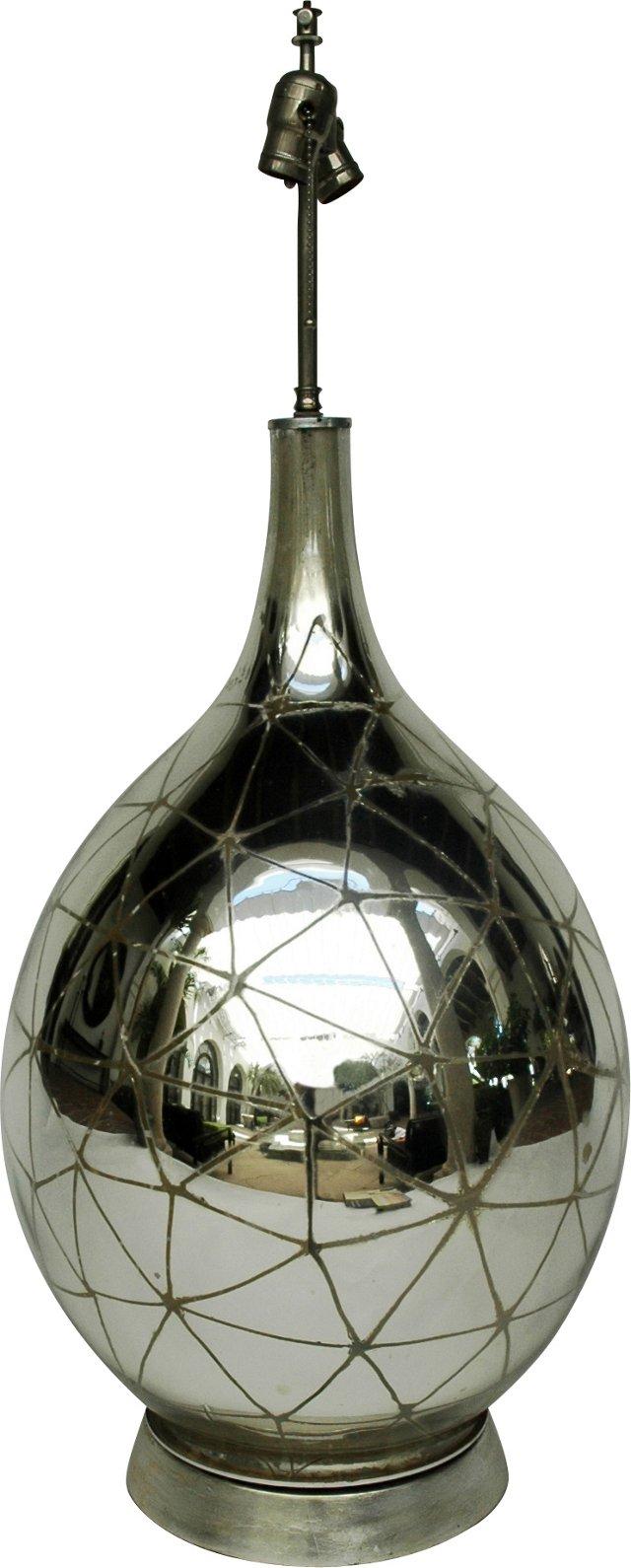 Mercury Glass Cobweb Lamp