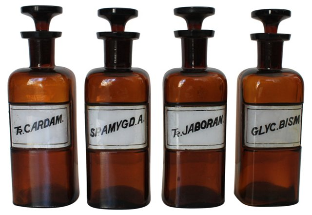 19th-C. Apothecary Bottles, S/4