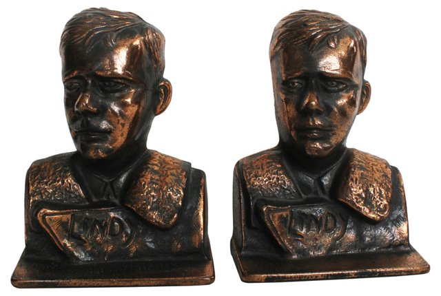 Charles Lindbergh Bookends, 1928