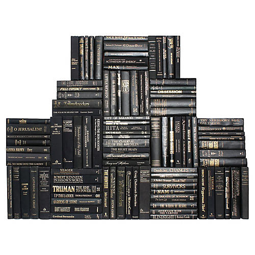 Retro Black & Gold Book Wall, S/100