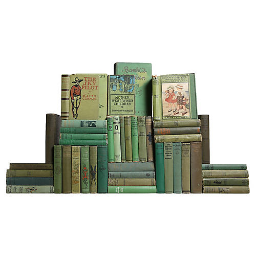 Vintage Green Children's Library, S/45