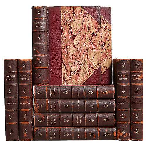 Weathered Leather Books, S/10
