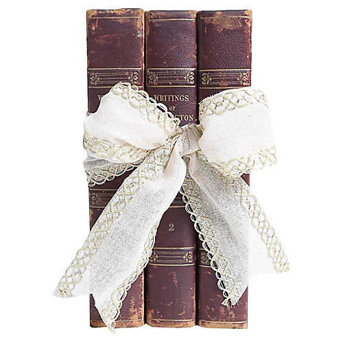 Antique Leather Book Gift Set, S/3