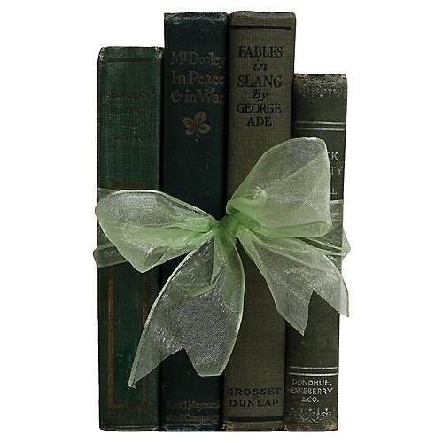 Vintage Book Set: Antique Greens, S/4