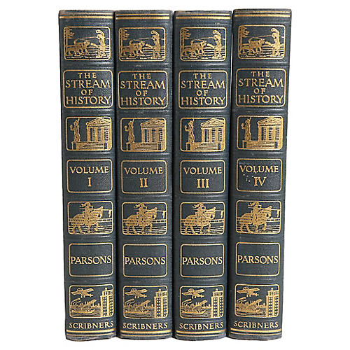 Blue History Book Set, S/4